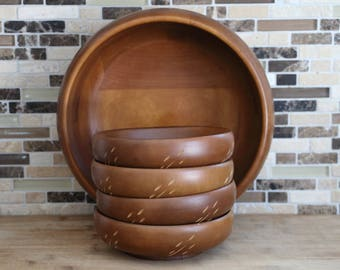 """Baribocraft Wood Salad Bowl Set (Wheat Pattern) - 9 1/2"""", 4 x 6"""""""
