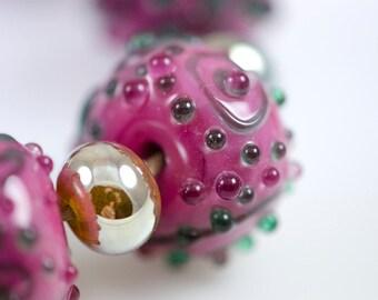 Raspberry dew -- Lampwork Glass Nugget Beads
