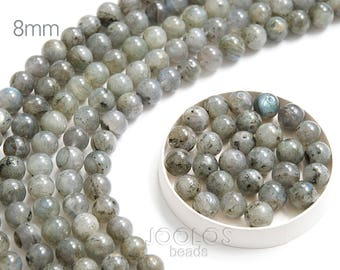 Labradorite beads 8mm Natural gray stone beads Gray stone bead Jewelry making bead Healing crystal Power stone / 10 beads About 7-8 cm