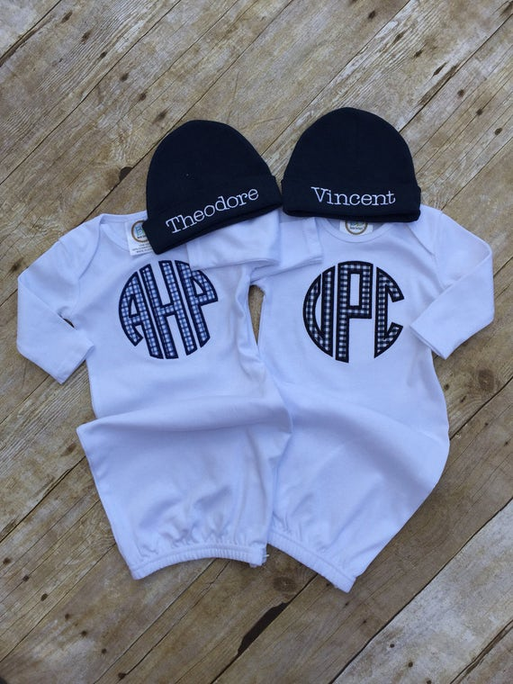 Baby Boy Monogrammed Infant Gown Newborn Boy Personalized