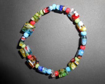 Colorful flower theme glass beads stretch bracelet for smaller wrists