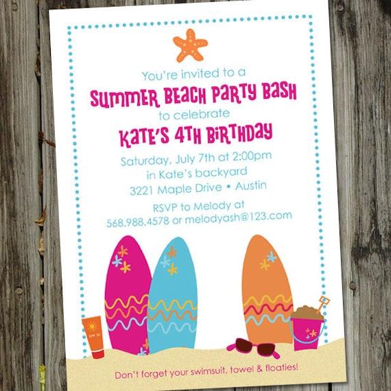 Fabulous Beach Party Invitation Beach Birthday Invitation Surf Party BQ79