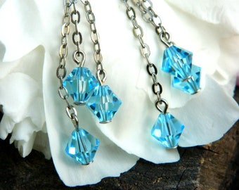 Mother gift Statement jewelry Blue Crystal earrings Women Gift Bridesmaid gift Boho earrings Drop earrings Mothers Day gift Wedding earrings
