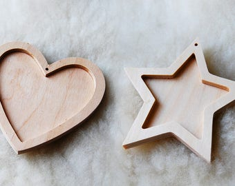 Wooden pendant heart or star for a Christmas tree, wood standing decor, wood for decoupage, wedding decorations, Christmas decorations