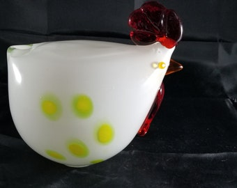"""Giant white with yellow and green spots hand blown glass rooster 7""""x7"""""""