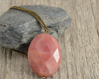 Pink stone pendant necklace. Long simple necklace