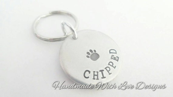 Pet tag - handstamped, personalised animal tag, cat, dog,