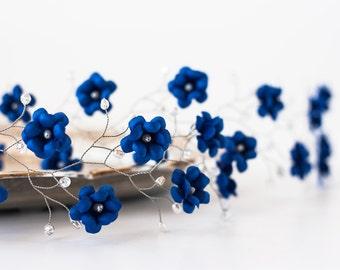 Deep blue wedding flower halo, Bridal hair halo, Wedding halo, Blue flower headband, Silver halo, Pearl accessory, Silver floral headband 51