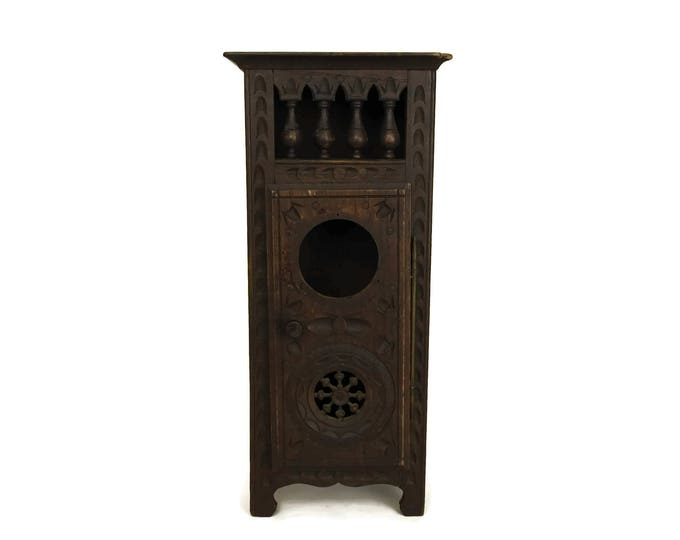Miniature French Breton Armoire Cabinet. Hand Carved Wood Doll's Wardrobe Furniture. Antique Country Decor.