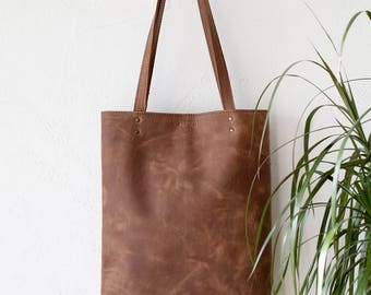 Cognac Distressed Leather Tote bag No. LPB-2078