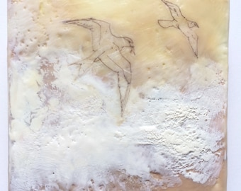 Painting of birds, tern painting, beach painting, seagulls, encaustic art home mixed media