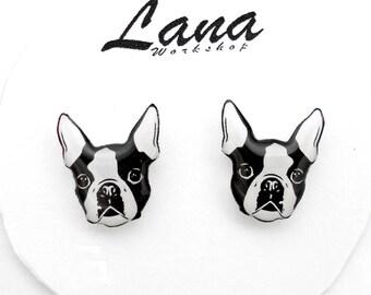 Bulldog earrings, earrings bulldog, bulldog jewelry, bulldog clay, animal earrings, dog earrings, fighting dog.