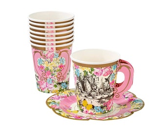 Alice in Wonderland Teacups and Saucers | Mad Hatter Tea Party Alice Party Cup Bridal Tea Wonderland Alice Baby Shower Alice Wedding Cups