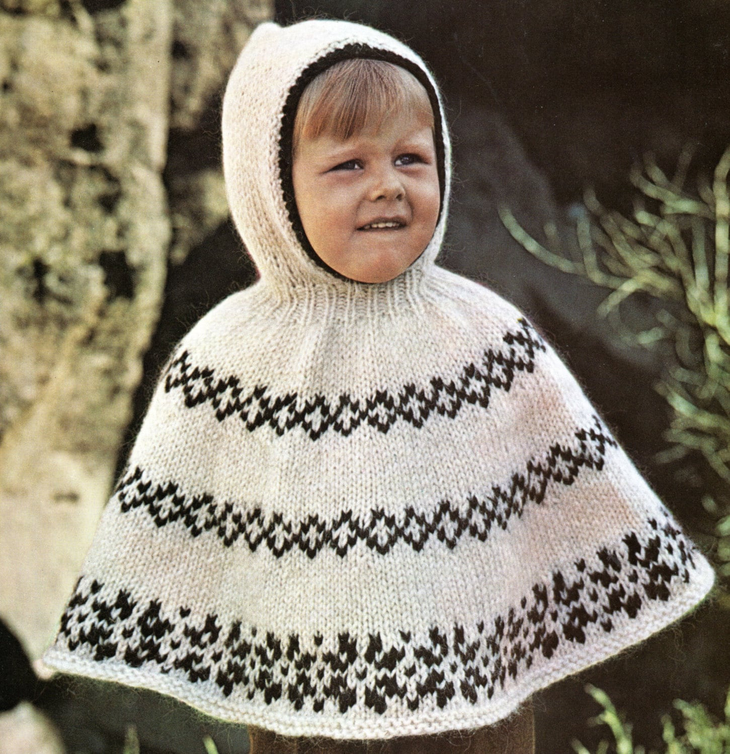 Poncho Cape With Hood Knitting Pattern Child Toddler Hooded Poncho ...