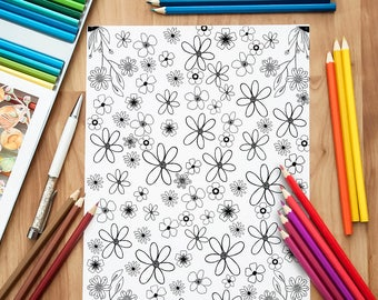 Kids and Adult Coloring Sheet Antistress Floral Color Page Digital Download Printable Flowers Digital Coloring Adult Kids Anti Stress Page