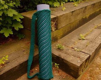Yoga Mat Bag Turquoise Knit Yoga Mat Sack with Carrying Strap Vegan Yoga Bag