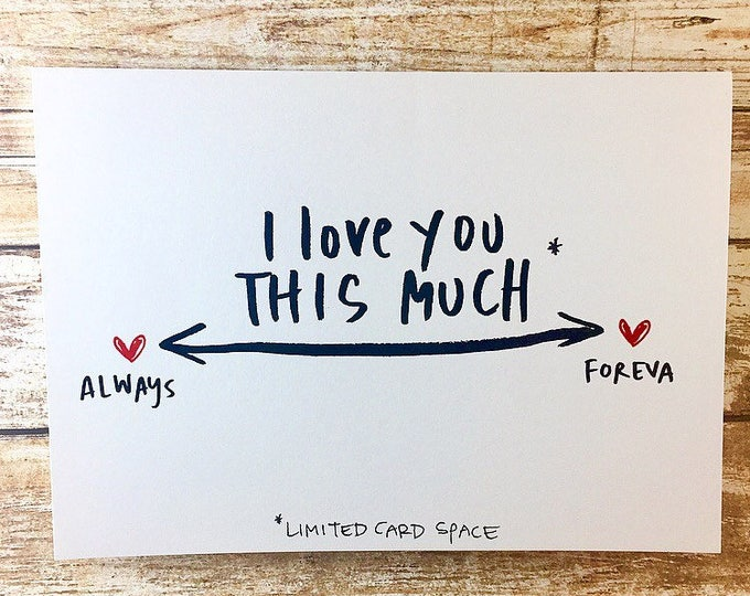 i love you this much card, Always and Forever card, Anniversary card for wife, hand lettered valentines day card, one year anniversary