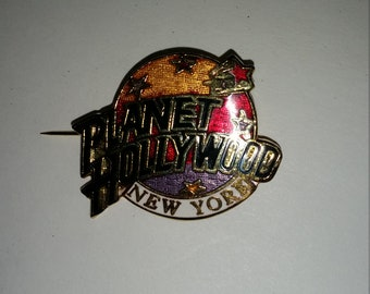 Vintage Planet Hollywood New York Collectors Pin, Multi colored Painted Pin
