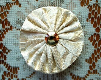 YoYo Hair Clip Free Shipping Metallic Gold with Gold Button