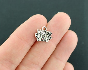 10 Mom Charms Antique Silver Tone World's Greatest Mom - SC201