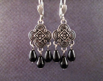 Oxidized Silver Chandelier Earrings, Black Glass Drop Pearl Earrings, FREE Shipping U.S.