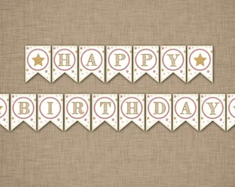 Twinkle Twinkle Little Star Happy Birthday Banner - Blush Pink and Gold Glitter