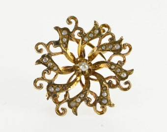 10K Ornate Seed Pearl Encrusted Swirl Spiral Pin/Brooch Yellow Gold