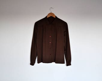 Vintage Handmade Brown Long Sleeve Pleated Button Up Blouse