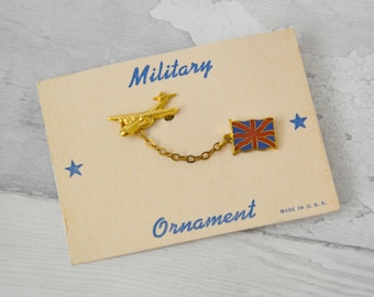 Vintage Deadstock Military Plane Double Brooch with Union Jack Flag