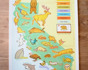 "Living California Wildlife Map, 13"" by 19"" Limited Edition Print"