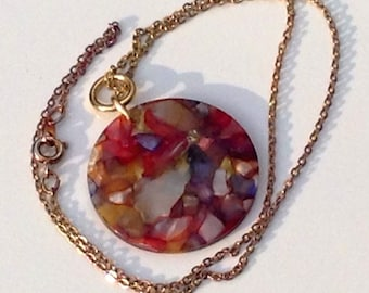 Vintage Marbled End Of The Day Circular Lucite Pendant On Chain