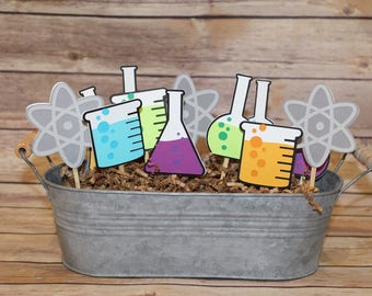 Mad Scientist Party Cupcake Toppers - Science Party, Birthday Party, First Birthday, Baby Shower, Lab