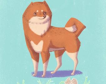 Shiba Inu cute dog A4 print nursery art