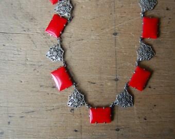Antique Art Deco glass filigree necklace ∙ 1930s glass filigree collar necklace