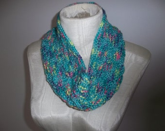 Knit Cowl Infinity Scarf Multi-Color Turquoise Purple Pink Yellow Infinity Cowl