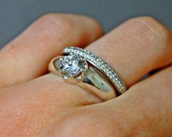 Kyra- CZ Engagement Ring, cubic zirconia engagement ring, cubic zirconia wedding ring, CZ wedding set, cubic zirconia band, eco diamond ring