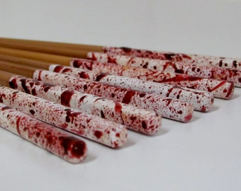 Blood Spatter Chopsticks, Red and White Chopsticks, Halloween Chopsticks, Dexter Cutlery, Blood Spatter Cutlery (4sets)