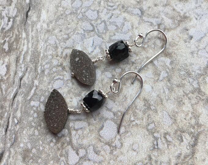 Black Spinel and Druzy Quartz Earrings Cube