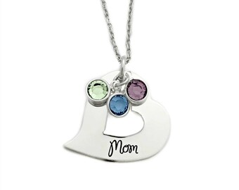 Personalized Heart Washer Name Necklace - Engraved Jewelry - Mother Necklace Birthstones - Personalized Necklace - 1416