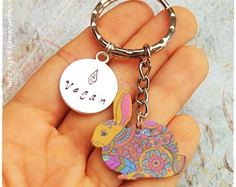 Vegan Keychain, Vegan Rabbit, Rabbit keychain, Cruelty free, Gift for vegan, Vegan Accesories, Vegan Jewelry, Jewellery, Vegan gift, Veggie
