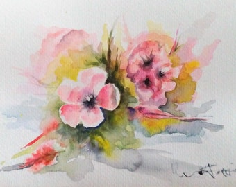 Watercolor painting of peach blossoms