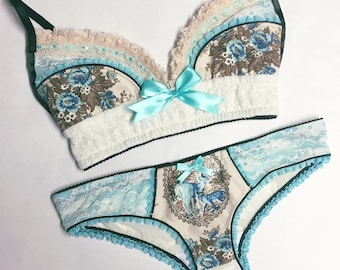 Light Blue Deer Vintage Floral with Cream Lace Panty - Pick Your Size - LIMITED EDITION - Handmade Vegan Bridal