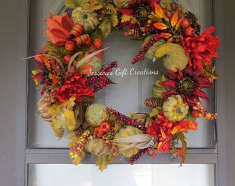 Made to Order Fall Floral Wreath/Grapevine Wreath/Front Door Wreath/Autumn Decor/Seasonal Door Hanger/Holiday Wreath/Pumpkin Decor/Sunflower