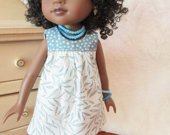 Cute breezy summer dress for Wellie Wisher or Hearts for Hearts doll