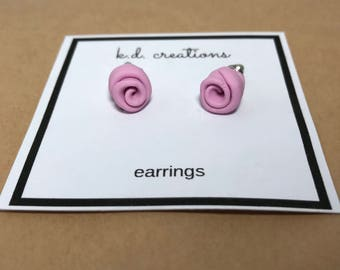 Rose Stud Earrings - Handmade from Polymer Clay by k.d. creations