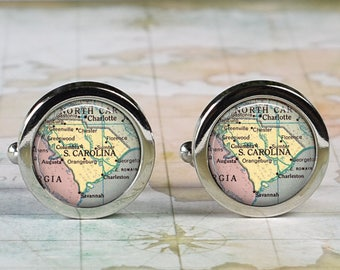South Carolina cuff links, cufflinks wedding anniversary gift for groom gift men's gift groomsmen gift for best man Dad Father's Day gift