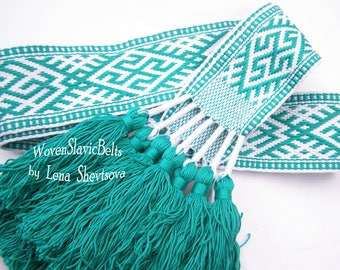 Woven Slavic Belt, Men's Slavic Belt, Woven Sash, Solar Ornament Belt, Sash, Hand woven Russian Belt, Swarogich, Rodovyk