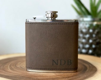 Personalized Flask, Gift For Men, Groomsman Flask, Flasks For Men, Leather Flask, Engraved Flask, Gift For Him, Husband Gift, Boyfriend Gift