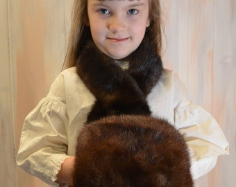 Vintage Child's Mink Fur Muff & Collar