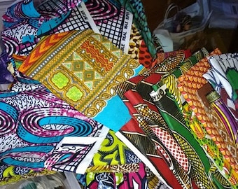 African Fabric, Half Yard Scrap Bags  -  NEW African prints added,  cotton fabric remnants - Destash from Painted Threads